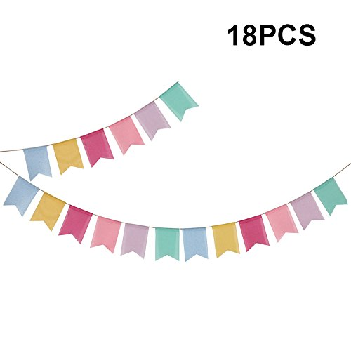 First Kitchen 4 M/13 Feet Colorful Decorative Banner,Baby Shower Pennant Garlands,Birthday Burlap Swallowtail Flags,Vintage Cloth Shabby Chic Decoration for Wedding (18PCS)