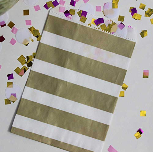 Bakers Bling Gold and White Rugby Stripe Party Favor Bags with Stickers, 5.5