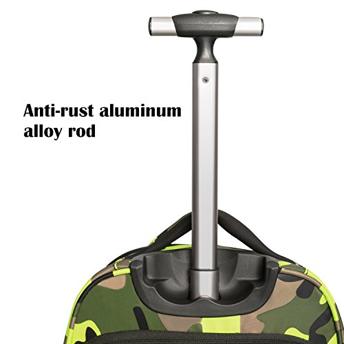 20 inches Big Storage Waterproof Wheeled Rolling Backpack Travel Luggage for Boys Students School Books Laptop Bag, Green Camouflage by HollyHOME (Image #5)