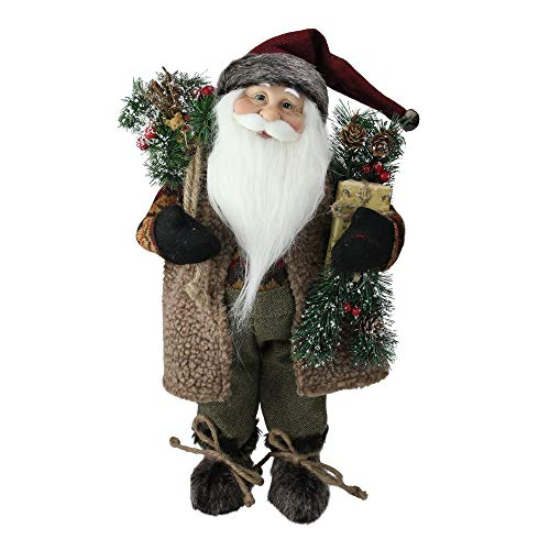 Northlight Country Rustic Standing Santa Claus Christmas Figure with Present, 16