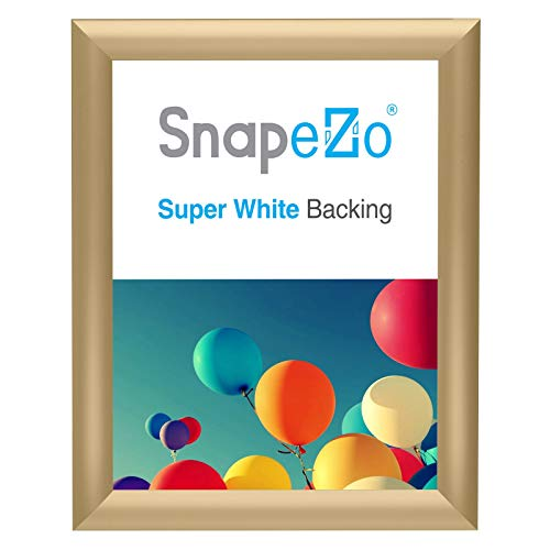 SnapeZo Photo Frame 8x10 Inches, Gold 1 Inch Aluminum Profile, Front-Loading Snap Frame, Wall Mounting, Sleek Series