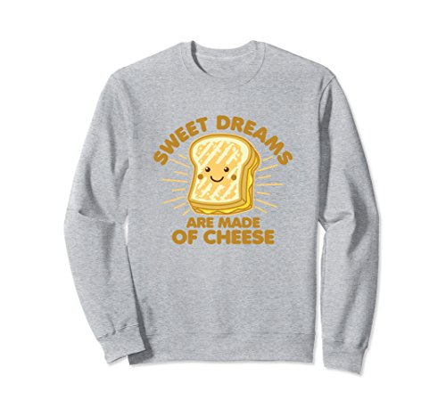 Unisex Grilled Cheese Humor Saying Sweet Dreams Sweatshirt Small Heather Grey ()