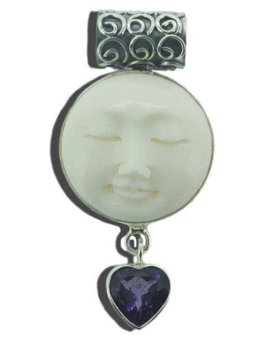 (Oval Moon Face Bali 925 Sterling Silver Pendant - Artisan Designer Jewelry Buddha Sun Yoga Goddess)