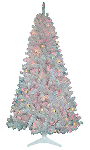 Madison Pine 6.5 ft 6 1/2 PreLit White Christmas Tree 400 Multi Color Light NEW - Country : United States