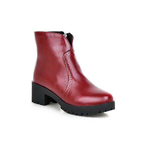 AllhqFashion Damen Rein Mittler Absatz Rund Zehe PU Leder Reißverschluss Stiefel Rot