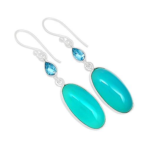Xtremegems Paraiba Chalcedony & Blue Topaz 925 Sterling Silver Earrings Jewelry 1 7/8