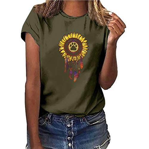 LONGDAY Women Plus Size Summer Short Sleeves Sunflower T-Shirt Tunic Girls Top Casual Print Tee Crew Neck Loose Blouse