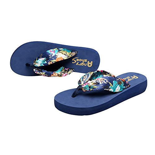 Desen Women's Floral Summer Satin Flip Flop Blue 9 B(M) US