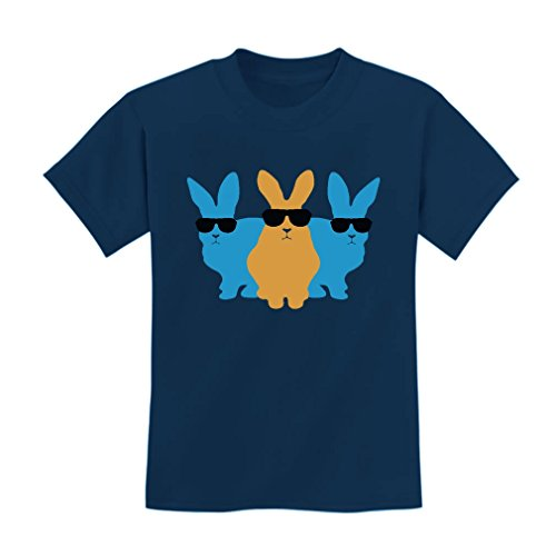 TeeStars - Hip Trio Bunnies Shades Funny Hipster Easter Bunny Kids T-Shirt X-Small Navy