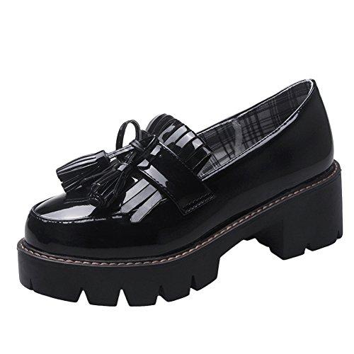 Latasa Dames Slip Op Stevige Hakken Kwastjes Loafers Zwart