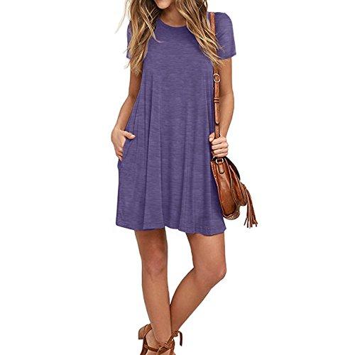 Naokenu Women Short Sleeve Swing Dress with Pockets Casual Loose T-Shirt Dress(S,Purple Gray) by Naokenu (Image #2)