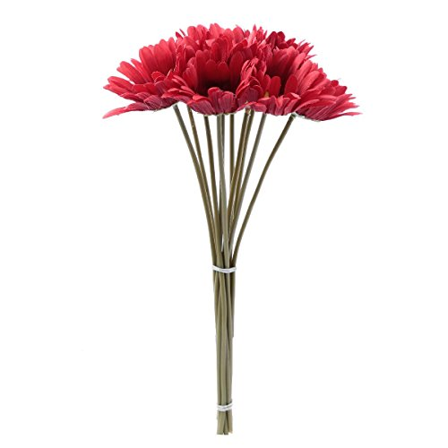 10 PCS Real Touch Latex Silk Artificial fake plastic Daisy Chrysanthemum Flowers Sun Chrysanthemum,Sunflower, Simulation Gerber, Dimorphotheca,Party Room home Decoration DIY Flower Bouquet (red)