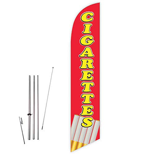 Cobb Promo Cigarettes (Red) Feather Flag with Complete 15ft Pole kit and Ground ()