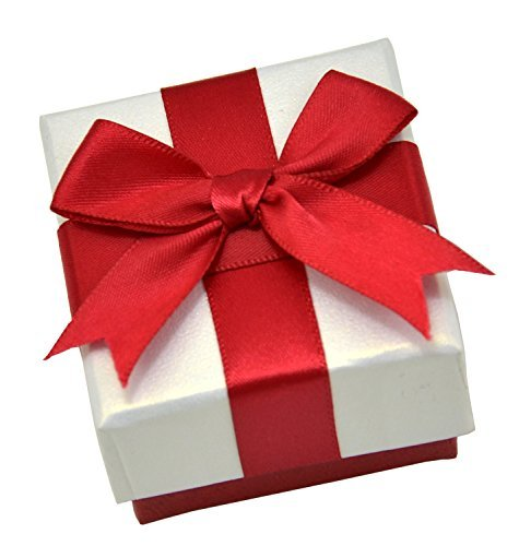 Paialco Jewelry Package Paper Gift Box Red Ribbon Bow-knot 2 1/4-Inch by 2 1/4-Inch ()