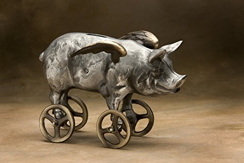 SCOTT NELLES STUDIOS Cast Bronze & Aluminum Flying Pig Bank