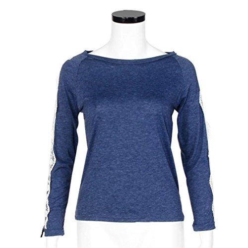 WINWINTOM Damen Blusen T-Shirt, Durchgehend blau blau ...