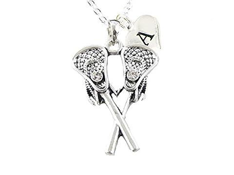 Custom Crystal Lacrosse Sticks Silver Chain Necklace Choose Initial Charm All 26 - Custom Crystal