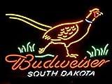 "Desung New 24""x20"" South Dakota Pheasant Hunter B udweiser Neon Sign Man Cave Signs Sports Bar Pub Beer Neon Lights Lamp Glass Neon Light DX111"