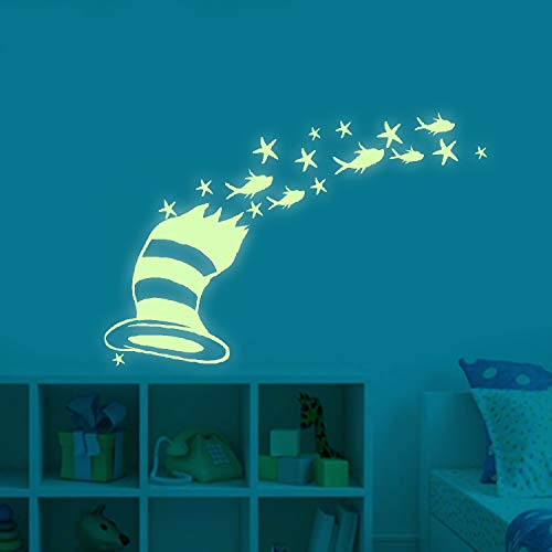 Glow in The Dark Stars dr. Seuss Peel and Wall Decals - dr. Seuss Gifts Wall Stickers for Boys Girls Bedroom Home Door Window Wall Decor