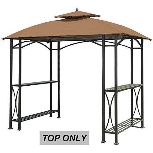 (ABCCANOPY Canopy Roof Top Replacement L-GG040PST-A Grill Gazebo Canopy Brown)