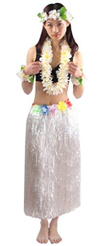 Good Quality 5pcs/ set Women's Hawaiian Luau 80cm white grass hula skirt (Hula Dancer Costume)