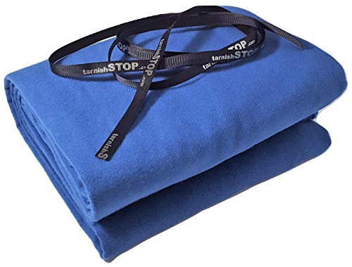 tarnishSTOP Luxury Anti-Tarnish Prevention Silver Cloth, Fabric by The Yard, (2 Yards, Blue) 58 Inches Wide + Logo Ribbon, Silverware Wrap & Drawer Liner from tarnishSTOP
