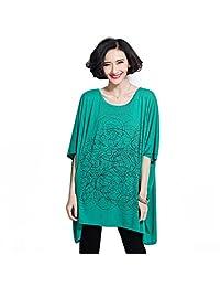 YJWAN Summer Women Plus Size Clothing Short Sleeve Soft Cotton Tunic Loose T Shirt