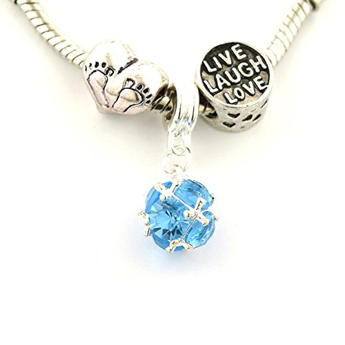 (Jewelry Adviser Beads Set of Three (3) Silver Plated Blue September Birthstone Spacer Charm Dangle Baby Feet Heart Live Laugh Love European Beads for Pandora Style Bracelet)