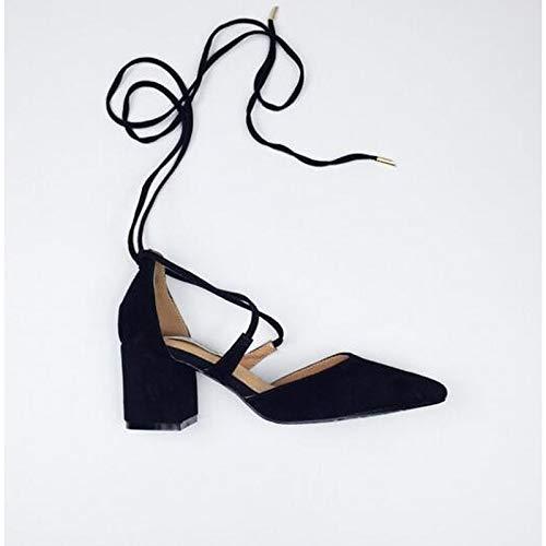 Suede Talón De Chunky Primavera Negro Mujer Tacones Almendra QOIQNLSN Comodidad Rosa Zapatos Black t1Fqw5xB