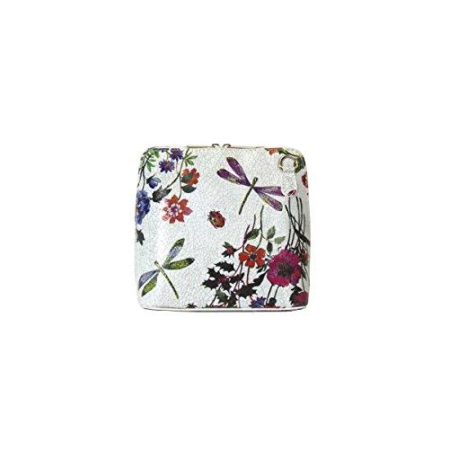 Bolso Benagio de cuero italiano auténtico, para uso cruzado o de hombro Flower Grey