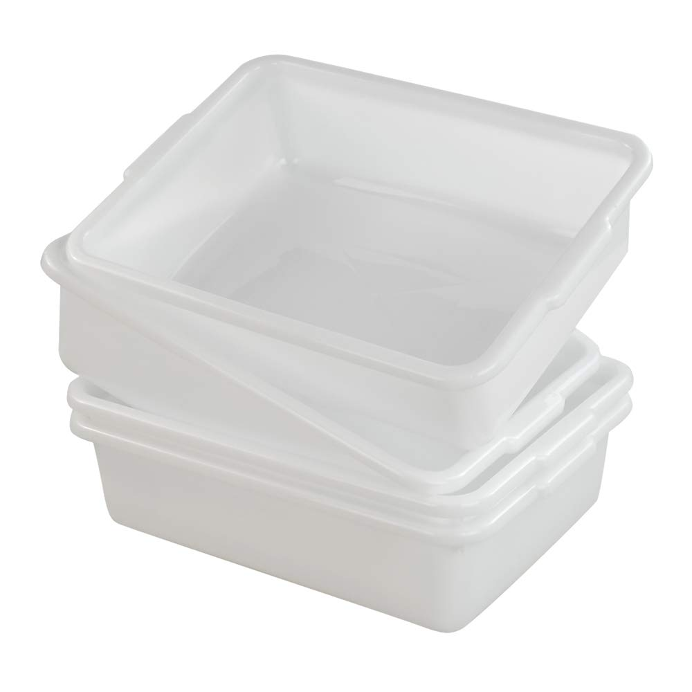 AnnkkyUS 4-Pack Bus Tubs Commercial, 8 L White Plastic Wash Basin Bus Box