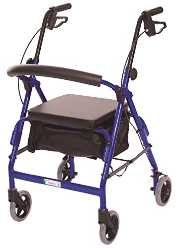 Essential Medical Supply Featherlight Demi Four Wheel Walker with Loop Hand Brakes and Pouch/Basket in Blue by Essential Medical Supply