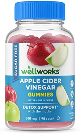 WellWorks Sugar Free Apple Cider Vinegar Gummies – ACV with The Mother – 500 mg – Great Tasting Natural Flavor Vitamin Supplements – Gluten Free Vegetarian – for Weight Loss – Adults – 60 Gummies 1