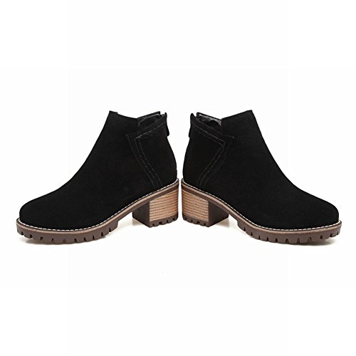 Carolbar Womens Retro Warm Zip Mid Heel Autumn Short Boots Black zmfunb