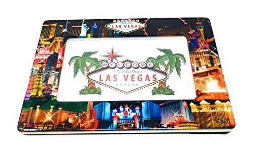 Las Vegas Ceramic Picture Frame - Black Background Strip Collage (Holds one 4 inch x 6 inch Landscape/Horizontal Photo)