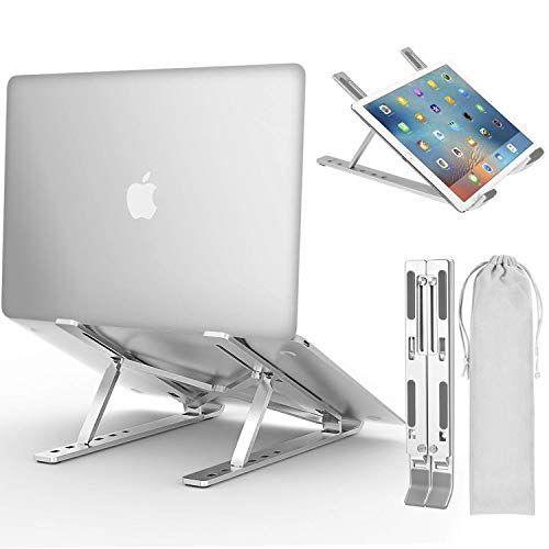 Laptop Stand, iVoler Adjustable Aluminum Laptop Computer Stand Tablet Stand,Ergonomic Foldable Portable Desktop Holder Compatible with MacBook Air Pro, Dell XPS, HP, Lenovo More 10-15.6 Laptops