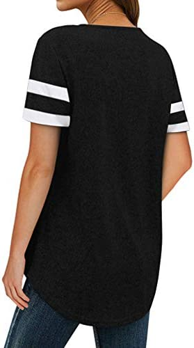 AOYSKY WOMEN'S V NECK SHORT SLEEVE STRIPED COLORBLOCK T SHIRTS LACE UP TUNICS TOPS BLOUSES