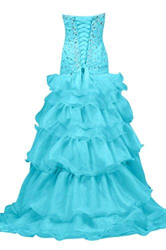 En forma de corazón de la perla de imitación de novia de la Toscana iluminadas por la noche vestidos de organza largo Hi-Lo bola Prom vestidos de fiesta Azul