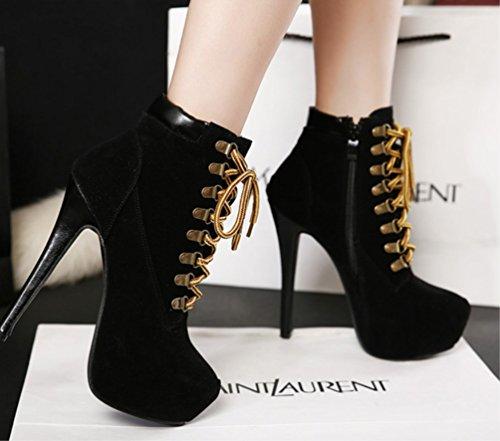 Schwarz Sexy Bequeme Stiefel Martin Ankle Damen Baumwollschuhe Boots Einfarbig Kreuzriemen Ferse ZHHZZ LIANGXIE Hochhackige 16Oxwq