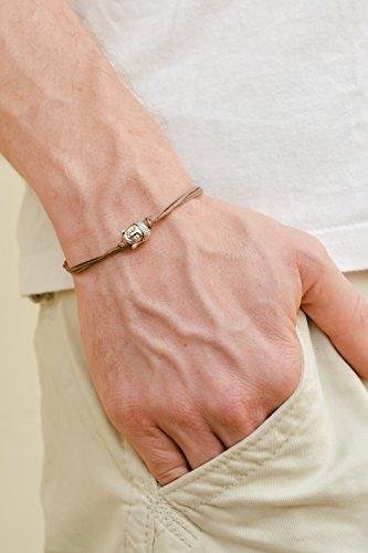 Pulsera de Buda, pulsera para hombre con adorno de plata de Buda, espiritual, cordón marrón, pulsera para hombre, regalo...