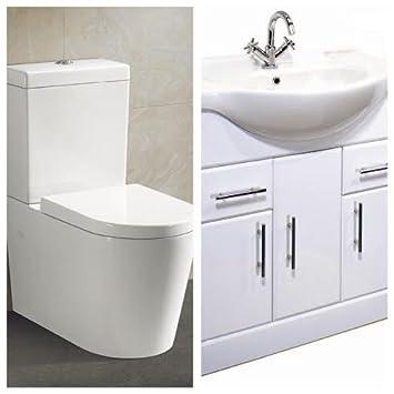 Amazon De 750 Waschbecken Schrank Mit Rund Design Stand Wc