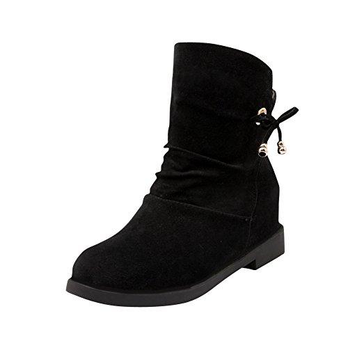 Latasa Dames Faux Suede Pull-on Korte Herfst Winter Platte Slouch Laarzen Zwart