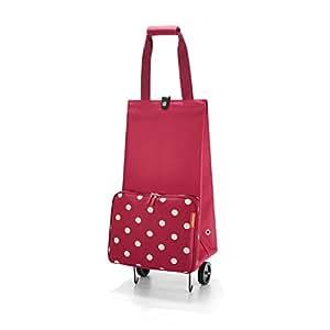 Reisenthel FoldableTrolley, Carro de la Compra, Cesta de la Compra Plegable Ruedas, ruby dots / rojo granate con puntos blancos, HK3014