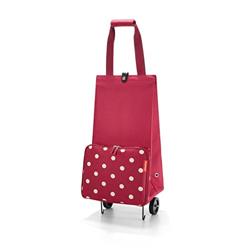 reisenthel Foldable Trolley Bag, Packable Oversized Tote with Wheels, Ruby Dots
