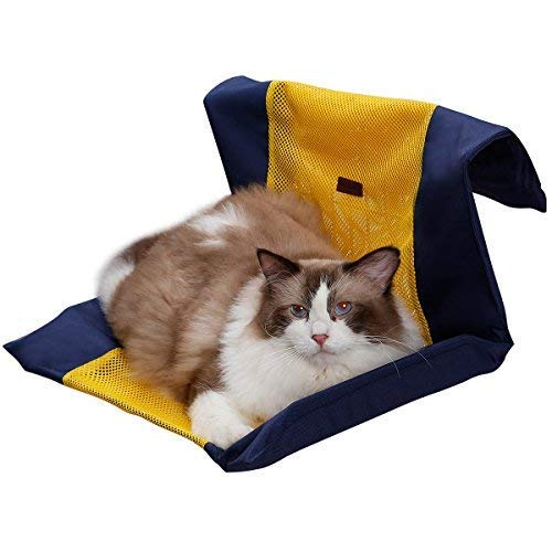 (QBLEEV Air Mesh Cat Hammock Bed Cover No Iron Frame,Summer Pet Radiator Bed Cover, Breathable Pet Resting Seat Safety Covers,Attached to The Cage or Idle Iron/Stainless Steel Frame for Kittens Kittie)