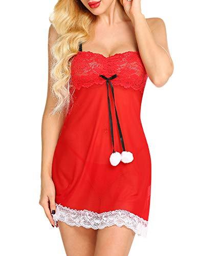 Gladiolus Womens Christmas Lingerie Red Lace Chemise Santa Babydoll Nightwear S-XXL