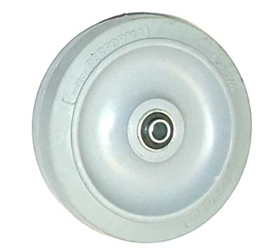 "Colson Soft Gray Rubber Wheel 5"" Dia x 1-1/4"" Wide with 3/8"" Ball Bearing"