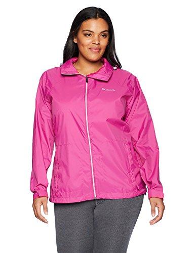 Packable Nylon Jacket - Columbia Women's Plus Size Switchback III Adjustable Waterproof Rain Jacket, Fuchsia, 3X
