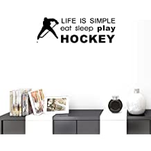 BIBITIME LIFW IS SIMPLE eat sleep play HOCKEY Signs Sayings Quotes Hockey Ball Athlete Silhouette Vinyl Sticker Sport Wall Decal for Fans Teens Boys Bedroom Nursery Living Room Home Art PVC Murals