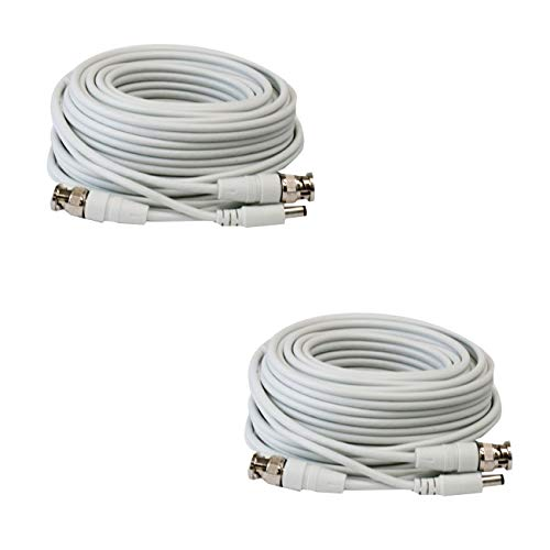 2 Pack 25ft RG59 Siamese Combo 20AWG Power Video Coaxial Cable BNC 75Ohm 95% Braid Wire Cord for HD-SDI, AHD, TVI, CVI All CCTV Security Cameras with BNC Connector and 2.1mm Power Jack (White)
